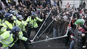 Clashes outside Parliament
