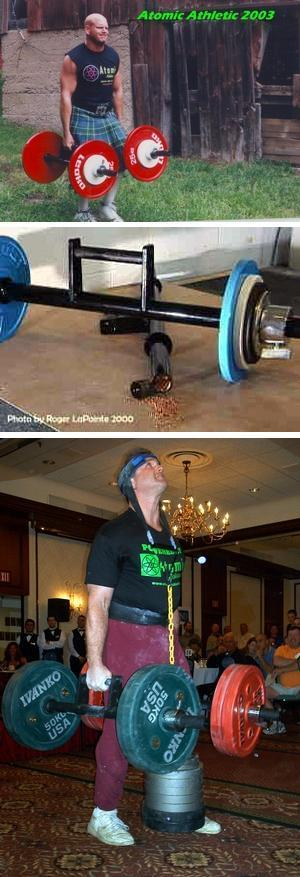 The top photo in this sequence shows Brian Duncan, the World Record holder in the Farmers Walk.  The bottom photo shows Steve Weiner performing at the Association of Olde Time Barbell & Strongmen Dinner.