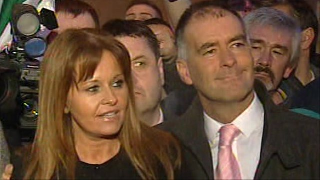 Gail and Tommy Sheridan outside court