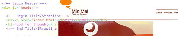 Photoshop to HTML Step-By-Step, Layout 1: 'MiniMal'