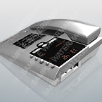 3D model of a grey telephone with big display