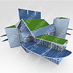 3D model of a building with plants and solar energy panels on the roof