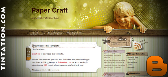 Download Free Blogger Template Paper Craft