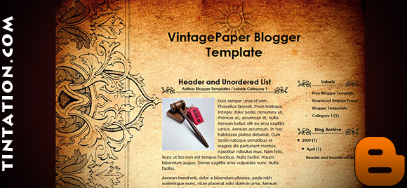 Download Free Blogger Template Vintage Paper