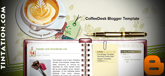 Download Free Blogger Template Coffee Desk