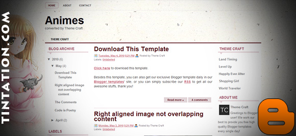 Download Free Blogger Template Animes