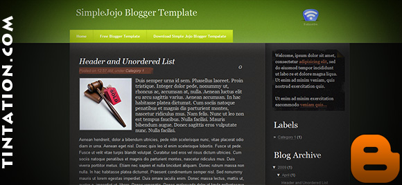 Download Free Blogger Template Simple Jojo