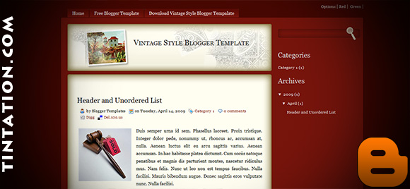 Download Free Blogger Template Vintagestyle