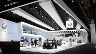 The Volkswagen stand at the Detroit auto show