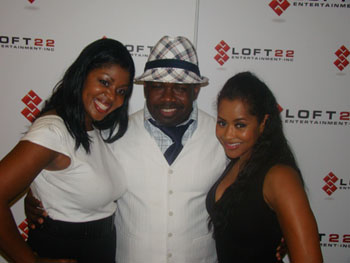 Princess Banton-Lofters, comic Rodney Perry and Lisa Wu Hartwell at the Loft 22 Entertainment party July 30, 2010. CREDIT: Rodney Ho/rho@ajc.com