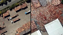 LtoR Before and after scene (of Brisbane floods) at Brisbane's Rocklea Markets