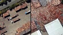 LtoR Before and after scene (of Brisbane floods) at Brisbane's Rocklea Markets