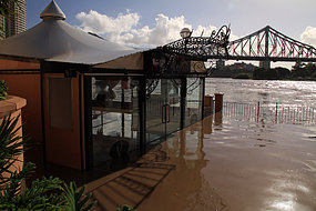 The Little Venice restaurant in the Brisbane CBD is submerged