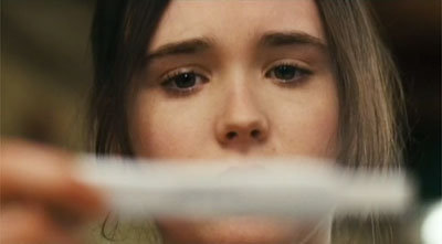 Ellen Page taking a pregnancy test in Juno