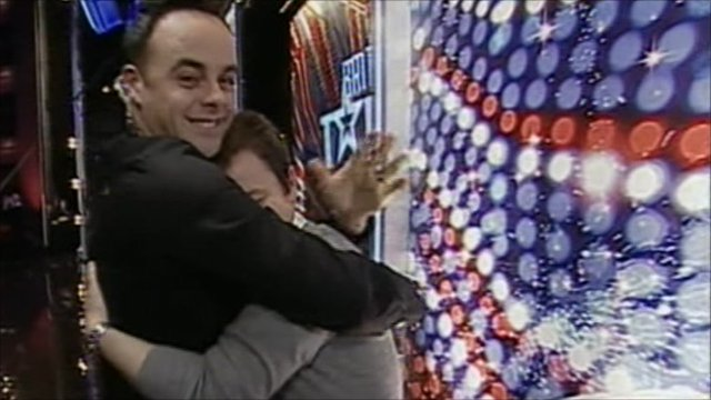 Ant and Dec having a celebratory hug