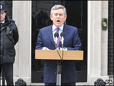Gordon Brown announces his intention to stand down
