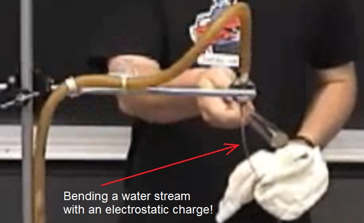 Bending a stream of water with an electrostatic charge.