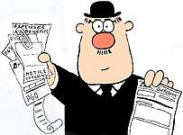 Taxman clutching tax forms