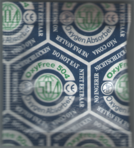 ce marked silica gel packet