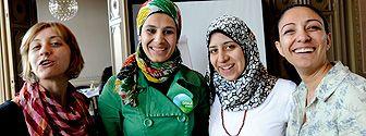 Daria Tarawneh, Doaa Kassem, Noha El-Shishtawy och Nahed Freij deltar i Svenska institutets program She Entrepreneurs.