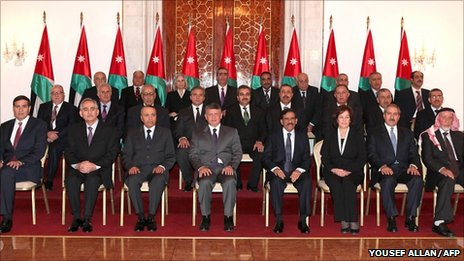 King Abdullah with the new Jordanian cabinet in Amman, 9 February (Jordanian Royal Palace handout)