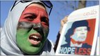 A woman protests against Libyan leader Muammar Gaddafi outside the White House, 19 Feb 2011