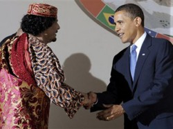 Fox News/ AP Photo - Obama shakes hands with Libyan Leader Muammar al-Qaddafi