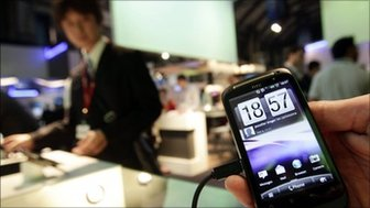 The new HTC Desire S is displayed at the GSMA Mobile World Congress in Barcelona