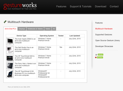 GestureWorks' Supported Hardware Page
