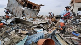 Rubble in Japan after earthquake