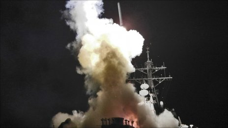 US destroyer USS Barry launches Tomahawk missiles on Libya (19 March 2011)
