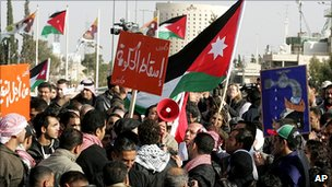 Anti-government rally in the Jordanian capital, Amman