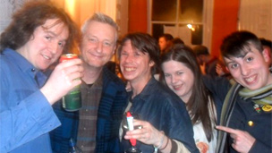 Billy Bragg with some students