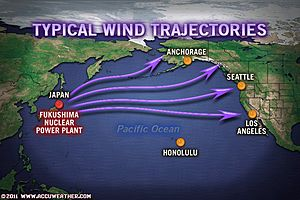 Wind Trajectories from Japan Nuclear Plant to US