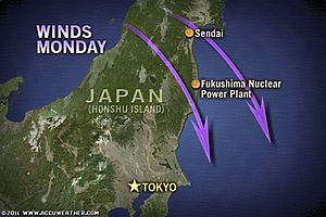 Local Wind Trajectories from Japan Nuclear Plant