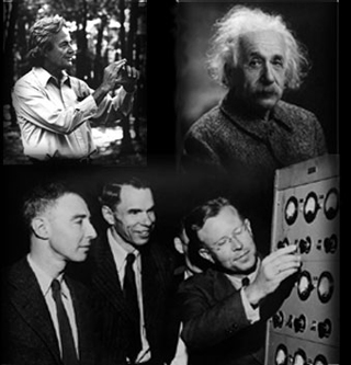 Collage of Einstein, Oppenheimer, Lawrence, Seaborg, and Feynman.