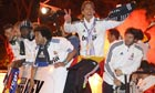 Real Madrid players celebrate cup victory