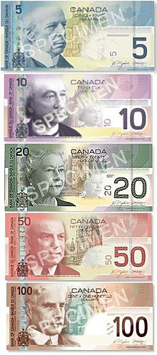 A vertical set of specimen banknotes, with $5 (blue) on top, followed by $10 (purple), $20 (green), $50 (red), and $100 (brown)