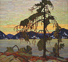 Oil on canvas panting of a northern tree dominating its rocky landscape during a sunset.