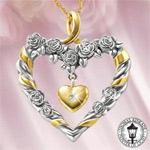 Thomas Kinkade Always In My Heart Diamond Pendant - Exclusive Thomas Kinkade Heart-shaped Diamond Jewelry Pendant! Original Rose Design a Symbol of Perfect Love!