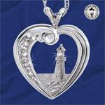 Thomas Kinkade Lighthouse Pendant: Heart-shaped Silver Jewelry Beacon of Hope - First Thomas Kinkade Lighthouse Pendant Diamond Jewelry! Sterling Silver Heart-shaped Pendant to Treasure! Exclusive Design!