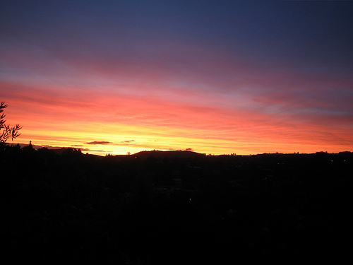Sunset over Taupo as seen from our window. Don't worry - we know how lucky we are.