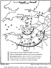 Black and white map showing 1) Fighter cover for invasion shipping and bases in Normandy, 2) Fighter and light-bomber attacks in battle area and its approaches, 3) Heavey bomber attacks on key rail centres to isolate Normandy, 4) Coastal Command patrols against U-boats and light naval craft, 5) Transport aircraft carrying airborne troops and supplies.