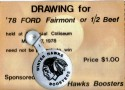 78 Ford Fairmont or 1/2 Beef Raffle Ticket Stub