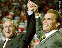 George W Bush and Arnold Schwarzenegger