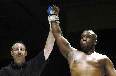 SATURDAY June 23, 2007 - Keenan Curry (right) won his first professional mixed martial arts fight Saturday  at the Williamson County Pavillion in Marion. Ryan Rendleman ~ Daily Egyptian