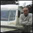 Tony Baker outside his caravan