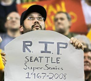 A fan expresses his pessimism at the Sonics' last home game April 13.