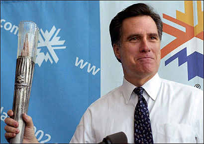 Romney, then president of the Salt Lake Organizing Committee, held the Olympic torch on Feb. 26, 2001, in Salt Lake City.