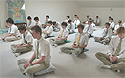 Students, 15 to 18 years old, meditate in the morning before class at the Maharishi School of the Age of Enlightenment, in Fairfield, Iowa.
